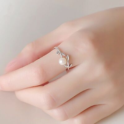 £2.99 • Buy Women Fashion Leaf Pearl Adjustable Ring 925 Sterling Silver Jewellery Gift UK