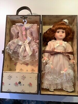 $ CDN35 • Buy Vintage 12  Porcelain Doll With Red Hair In Wooden Carrying Case