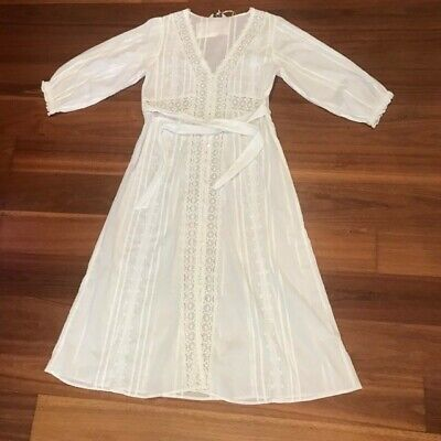 AU170 • Buy Arnhem White Cotton Poeme Sundress In Parchment Size 12 With Slip NEW WITH TAGS