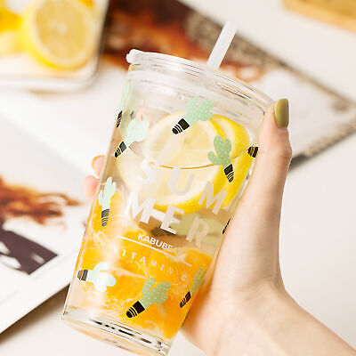 450ml Water Glass Bottle Mug With Lid And Drinking Straw, Lovely Cup  Mgic • 12.74£