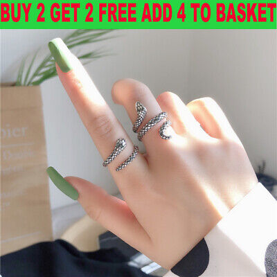 £1.86 • Buy Cool Snake Adjustable Ring 925 Sterling Silver Womens Girl Men Jewellery Gifts