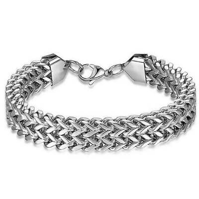 Mens Stainless Steel Bracelet Bike Chain Punk Gothic Biker Style Chrome Silver • 3.99£