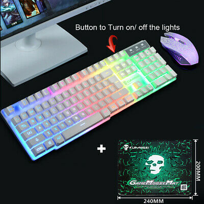 Gaming Keyboard And Mouse Set Rainbow LED Wired USB For PC Computer Laptop EAR • 11.99£