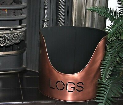 £25 • Buy Copper Finish Log Bucket Coal Holder Fire Accesories NEW