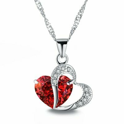 £3.95 • Buy Heart Crystal Pendant 925 Sterling Silver Chain Necklace Womens Ladies Jewellery
