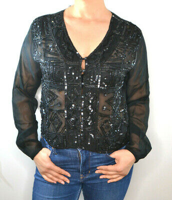 £16.50 • Buy Charlotte Halton, Embroidered Sequin Button Up Blouse, Size UK 12