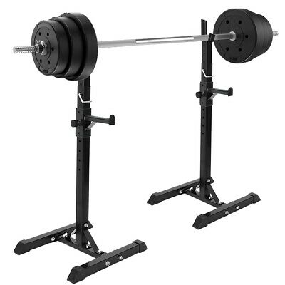 $ CDN100.04 • Buy 1Pair Gym Fitness Adjustable Squat Rack Bench Press Weight Lifting Barbell Stand