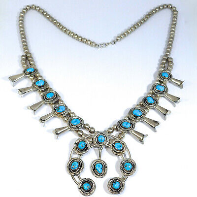 $ CDN696.52 • Buy Vintage Sterling Silver And Turquoise Squash Blossom Necklace Great Size