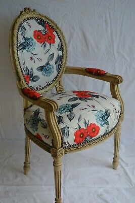 £135 • Buy Louis Xvi Arm Chair French Style Chair With Red Flowers