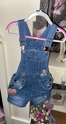 Used Girls Dungarees Shorts With Pockets - Denim Co - Size 7/8 • 4£