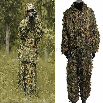 £13.71 • Buy Camping Camouflage Suit Ghillie Leaf 3D Jungle Forest Hunting Clothes Set UK CA
