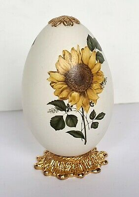 £5.72 • Buy  Easter Decorated Chicken Duck Egg Blown Sunflower Decoration And Base VGC