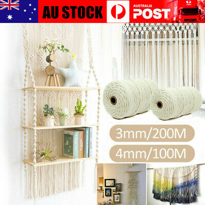 AU19.99 • Buy 3mm4mm Macrame Rope Natural Beige Cotton Twisted Cord Artisan Hand Craft Weaving