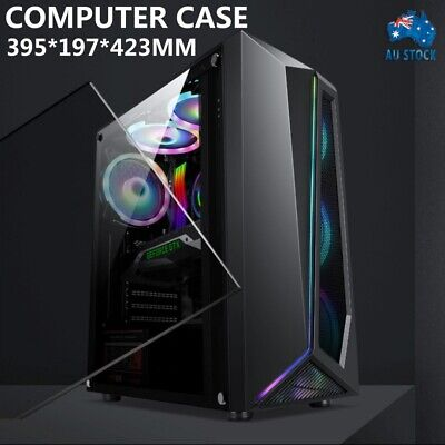 AU53.99 • Buy Mid Gaming Tower RGB Strip ATX Computer PC Case Transparent Panel Without Fan AU