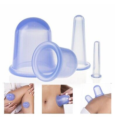 4pcs Silicone Anti Cellulite Massage Vacuum Cupping Body Facial Cups Therapy • 12.85£