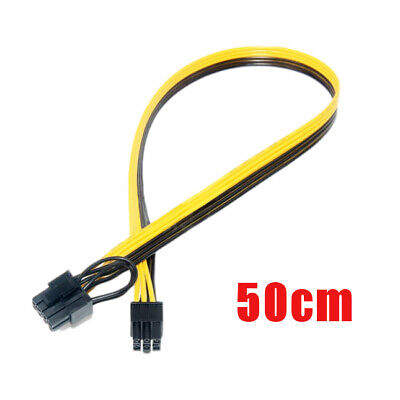 1pc 50cm Quality Breakout Cable 6Pin To 8Pin (6+2Pin) PCI-E Cable 18AWG Mining • 4.99£