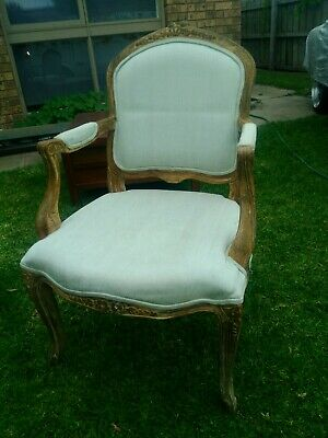 AU60 • Buy French Provincial Style Arm Chair.  Bedroom Chair. Solid Oak Frame.