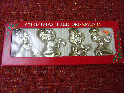 WOOLWORTHS Vintage MUSICIAN ANGELS Christmas Tree Decorations GOLD COLOURED • 9.99£