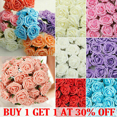 £8.89 • Buy 50Pcs Artificial Flowers Foam Rose Fake With Stem Wedding Party Bouquet Decor UK