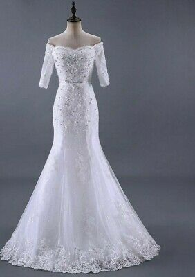 $ CDN253.59 • Buy Wedding Dresses Vintage Mermaid Half Sleeve Beading Crystal Sashes Lace Applique