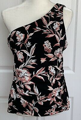 $ CDN22.82 • Buy White House Black Market Top One Shoulder Floral Black Pink Stretch Size Medium