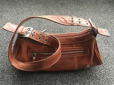 MANFIELD Tan Leather Small Shoulder Bag With Extendable Buckle Strap • 3.99£