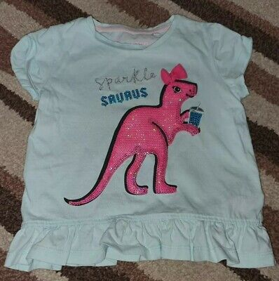 Girls BlueZoo Dinosaur T Shirt Age 2-3 • 2.40£