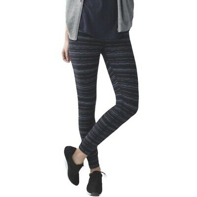 "$ CDN44.39 • Buy Lululemon High Times Leggings 24"" Cyber Stripe Naval Blue Black Size 4"