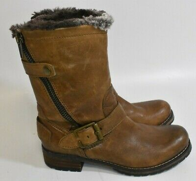 Clarks Indigo Majorca Sun Boots Women Brown Leather Insulated US 7 M Ankle Fur • 18.17£
