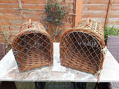 £75 • Buy A Pair Vintage Wicker Wooden CatSmall Dog Basket Carrier Vet Cage Bed