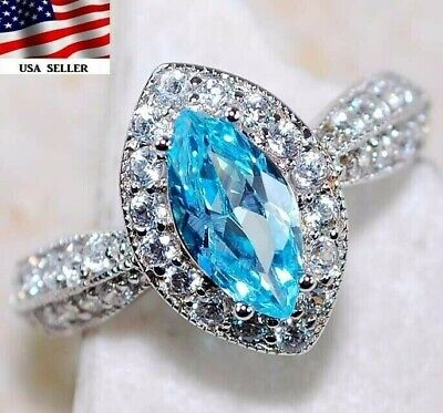 $ CDN45.66 • Buy Buy Now 3CT Aquamarine & Topaz 925 Solid Sterling Silver Ring Jewelry Sz 6, UC18