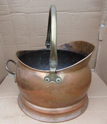 Antique Fireman's Helmet Copper Coal Scuttle With Brass Handle -English Made VGC • 39.50£