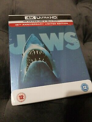 JAWS - 4K UHD BLU RAY STEELBOOK - NEW & SEALED But Small Ding • 36.99£