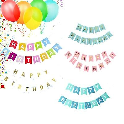£2.90 • Buy Happy Birthday Bunting Banner Pastel Hanging Letters Party Decoration Garland