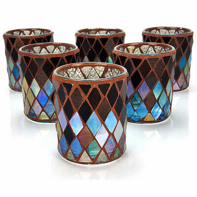£6.99 • Buy 6 X Official Yankee Autumn Mosaic Glass Votive Candle Holders Gift
