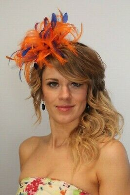 Orange & Royal Blue  Feather Fascinator Hat - Choose Any Colour Satin/feathers • 54£