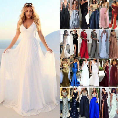 AU26.59 • Buy Women's Formal Maxi Dress Prom Evening Party Cocktail Bridesmaid Wedding Gown