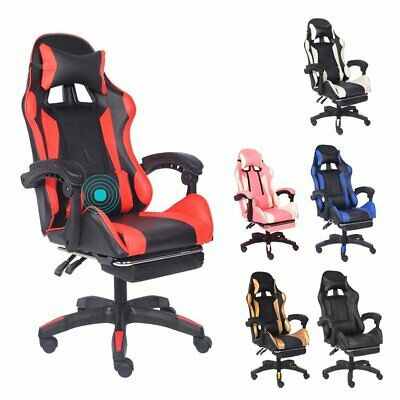 AU129.99 • Buy Gaming Chair Office Computer Seating Racing PU Executive Massage With Footrest