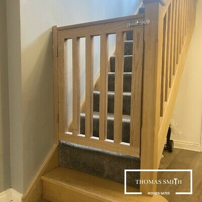 £479.99 • Buy Solid Oak (Made To Measure) Bespoke Wooden Pet Baby Stair Gate & Fitting Kit