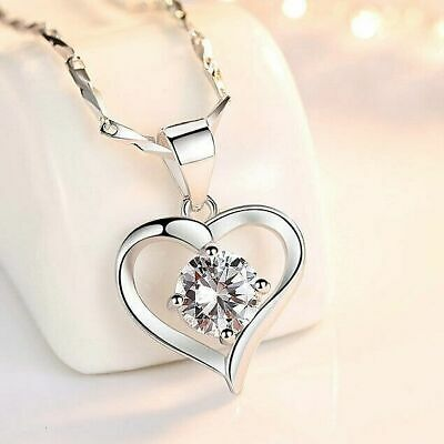 £2.99 • Buy Women 925 Sterling Silver Crystal Heart Pendant Chain Necklace Jewellery Gift UK