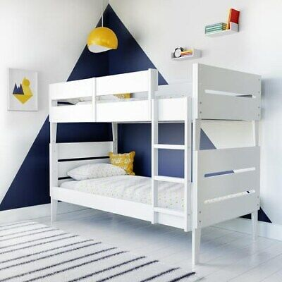 Hugo Kids Standard Bunk Bed In White With Storage New Modern Solid Wooden • 299.97£