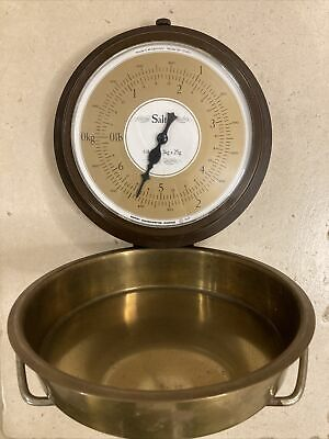 1970s Vintage Salter Kitchen Weighing Scales With Brass Pan Wall Hung • 9£