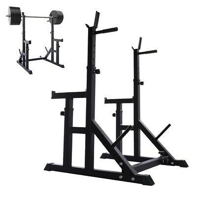 $ CDN224.42 • Buy Adjustable Squat Rack Bench Press Weight Lifting Barbell Stand Fitness WORKOUT
