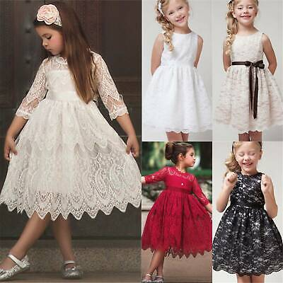 Kids Flower Girls Lace Dress Party Princess Wedding Prom Ball Gown Bridesmaid UK • 10.69£