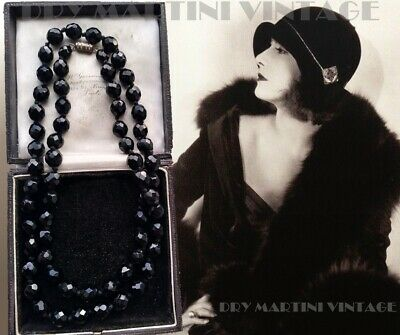 £39.99 • Buy Vintage Art Deco Jewellery Chunky French Jet Beads Long Necklace Hand Knotted