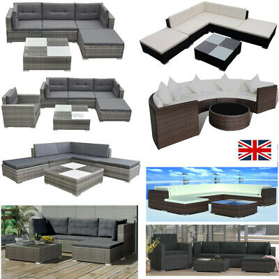 Rattan Garden Furniture Set Chairs Sofa Table Outdoor Patio Wicker 4/6/8 Seater • 919.59£