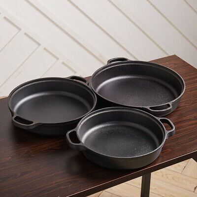 £24.95 • Buy 25/30/35cm Cast Iron Grill Fry Frying Pan Skillet Oven Cooking Griddle Non Stick