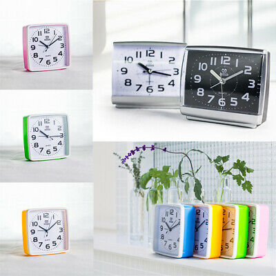 Portable Small Square Alarm Clock Slight Ticking Snooze Battery Operated Hot UK • 6.88£