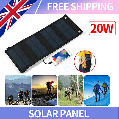 £18.89 • Buy 20W USB Solar Panel Folding Power Bank Outdoor Battery Charger Camping Hiking UK