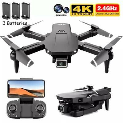 AU63.99 • Buy Drones With Dual 4K HD Camera 3 Batteries GPS Follow Me RC Brushless Wifi FPV